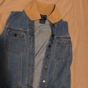 Denim jacket with swale collor